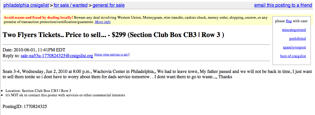 Philadelphia Tickets Craigslist | All Basketball Scores Info