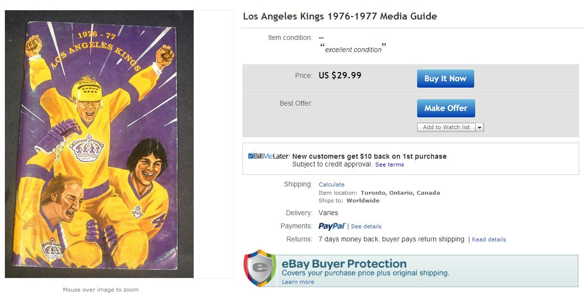 1976 LA Kings Media Guide