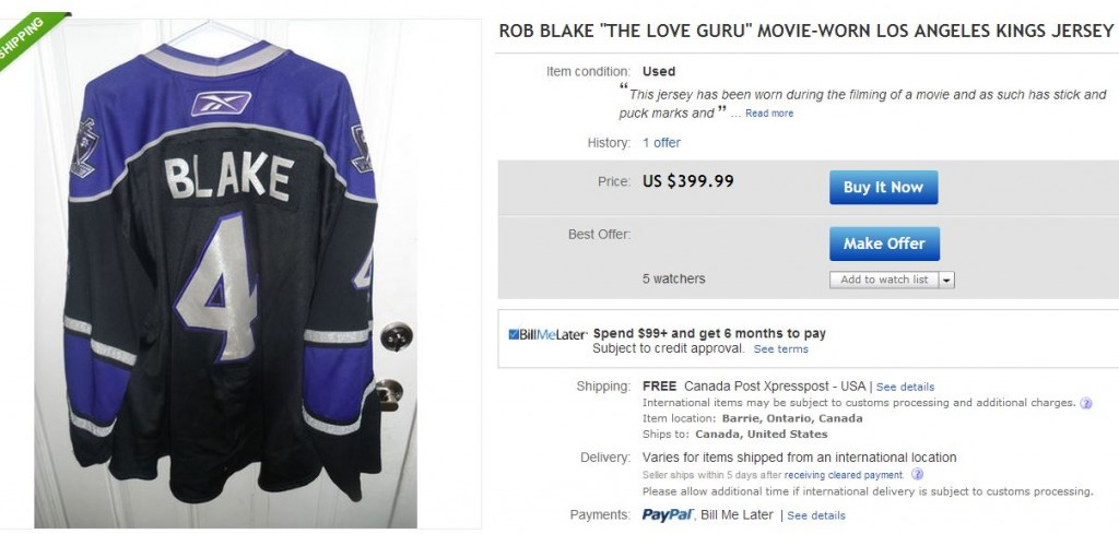 Rob Blake The Love Guru LA Kings Jersey - Hockey Hoarders