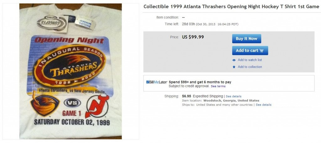 Atlanta Thrashers Inaugural Game Tshirt - Hockey Hoarders
