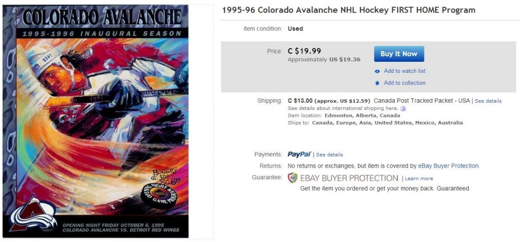 Colorado Avalanche First Home Game Program - Hockey Hoarders