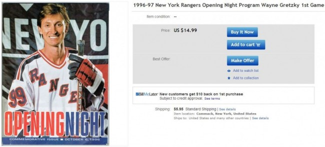 Wayne Gretzky New York Rangers First Game - Hockey Hoarders