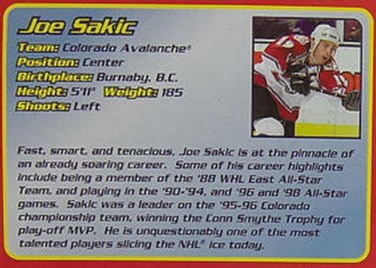 Joe Sakic - Ugly Action Figure facts -  Hockey Hoarders