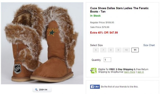 Dallas Stars Boots with the Fur - Hockey Hoarders