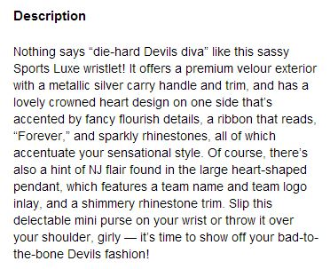 New Jersey Devils Purse Description - Hockey Hoarders