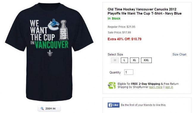Vancouver Canucks 2012 We Want The Cup T-Shirt - Hockey Hoarders