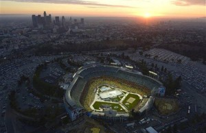 Stadium Series Aerial Shot Dodger Stadium - The Royal Half
