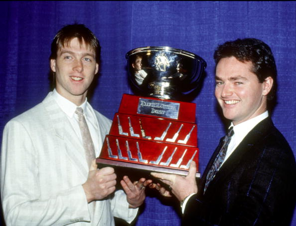 Patrick Roy and Brian Hayward share the William Jennings Trophy