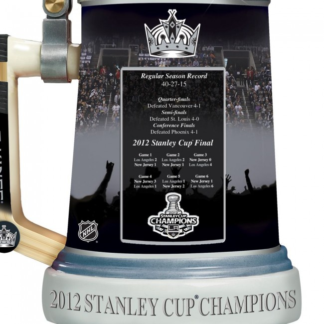 Los Angeles Kings 2012 Stanley Cup Porcelain Stein back - The Royal Half