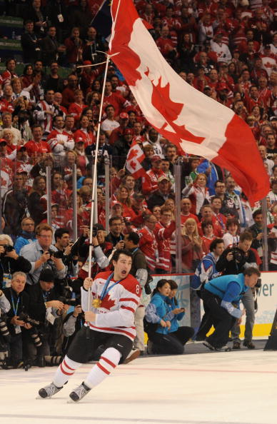 Canada's Drew Doughty reacts after Canad
