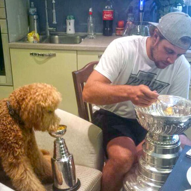 gustl-and-anze-kopitar-chow-down-from-stanley-cups