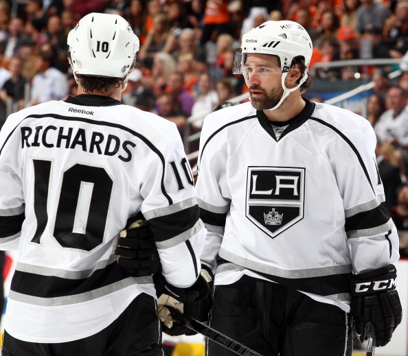 ANAHEIM, CA - MAY 5:  Justin Williams #14 and Mike Richards #10 of the Los Angeles Kings talk during the game against the Anaheim Ducks in Game Two of the Second Round of the 2014 Stanley Cup Playoffs at Honda Center on May 5, 2014 in Anaheim, California. (Photo by Debora Robinson/NHLI via Getty Images)